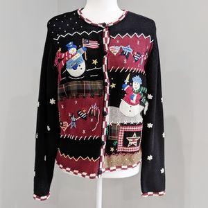 Christmas Holiday Patriotic Snowman Cardigan Black
